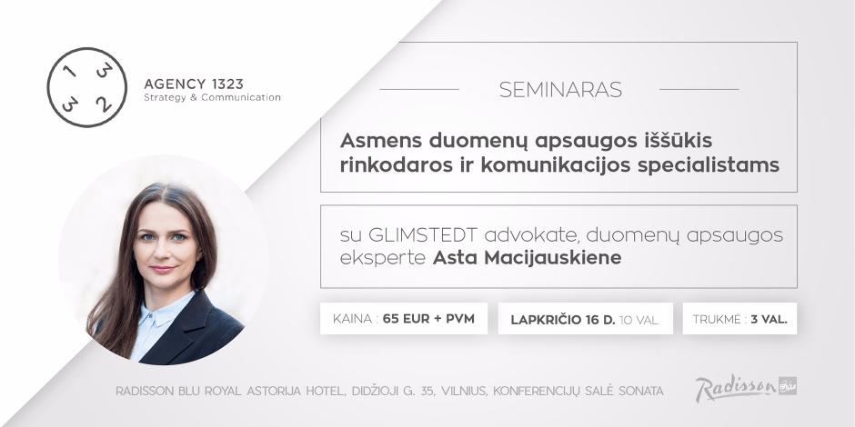 """SEMINARAS """"Asmens duomenų apsaugos iššūkis rinkodaros ir komunikacijos specialistams"""""""