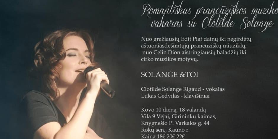 Romantiškas prancūziškos muzikos vakaras su Clotilde Solange