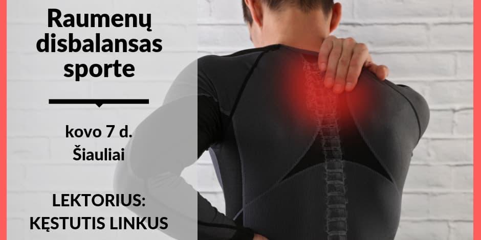 """Kovo 7 d. sporto medicinos seminaras Šiauliuose. Kęstutis Linkus """"Skausmas dėl raumenų disbalanso sporte: atpažinimas ir korekcija"""""""